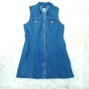 Vintage 90s denim zip up mini dress 13/14